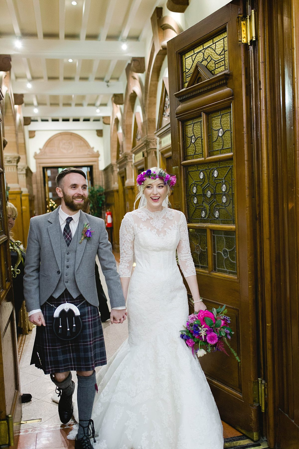 Cat Robertson Make up,Fine Art Wedding Photographers Glasgow,Floral Menagerie,Floral crown bride,Maxwell Park,documentary wedding photographers Scotland,natural wedding photographers,photographers Glasgow,wedding Pollokshields Burgh Halls,