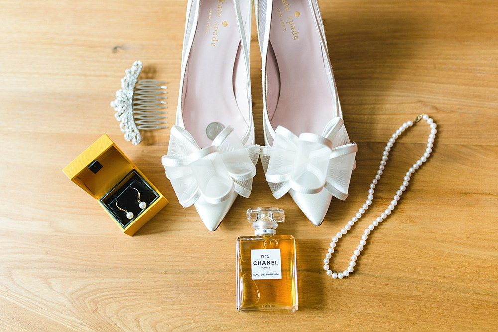 bridal shoes, bridal bouquets and bridal dress