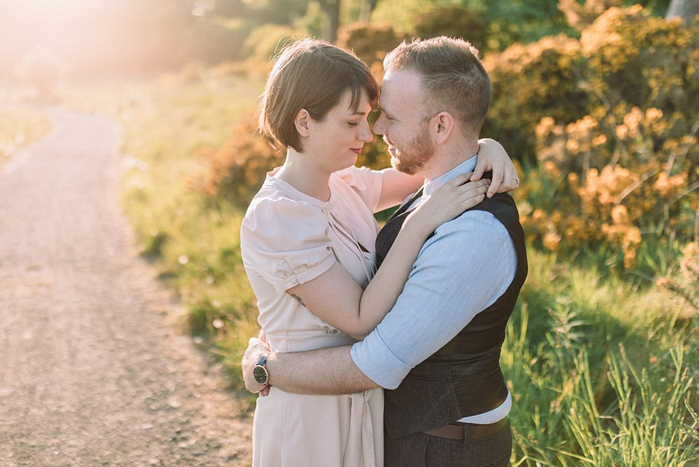 The Gibsons,cathkin braes,engagement photographers glasgow,glasgow engagement,golden hour engagement,natural wedding photographers,