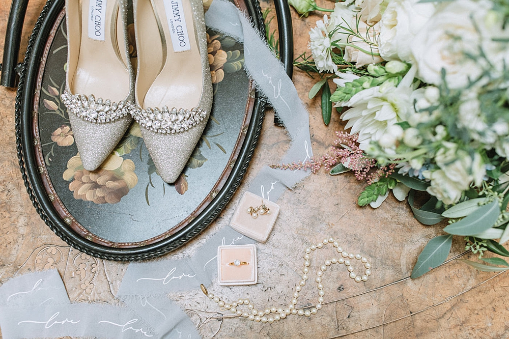 The shoes, the dress, the flowers & the rings
